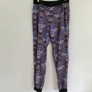 Tibi Purple Ibis Joggers Pants Feather Print